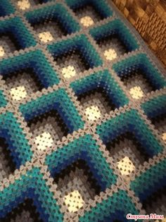 Crochet Ripple Afghan, Crochet Bedspread Pattern, Granny Square Crochet Pattern, Crochet Diagram, Afghan Crochet Patterns, Crochet Squares, Crochet Stitches, Knitting Patterns, Crochet Dragon