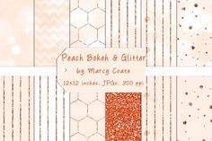 12 elegant peach and white papers withbokehlighting effects and/or orangeglitter. (Bokehis a Japanese word that refers to out-of-focus points of light in photos). This set includes the following papers:  peach and whitebokehpaper peach and whitebokehpaper with peach and white chevron stripes peach and whitebokehpaper with...