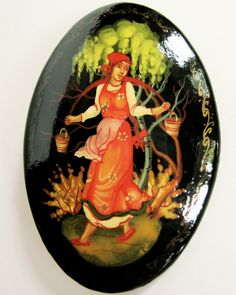 vintage russian lacquer brooch