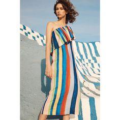 Mara Hoffman Ray Linen Midi Dress ($398) ❤ liked on Polyvore featuring dresses, blue linen dress, midi dresses, midi day dresses, multi colored dress and textured dress