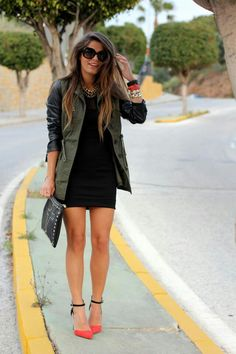 LBD Style Outfits, Fall Outfits, Casual Outfits, Cute Outfits, Casual Black Dress Outfit, Emo Outfits, Outfit Vestido Negro, Trenchcoat Style, Utility Jacket Outfit