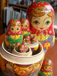 Matryoshka | Nesting dolls...My Great Aunt gave me dolls like this when I was little, she was quite the world traveler :)