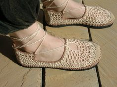 VEGAN Lace up crochet SHOES  Mary Jane  Tan & Beige by lepiedleger, $62.00