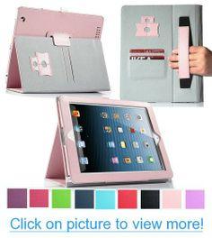 Pandamimi ULAK(TM) For Apple New iPad Case - Folio Hardback Cover with Built-in Stand Auto Wake/Sleep for Apple iPad 4/3/2 with Retina Display/Screen protector (Pink)