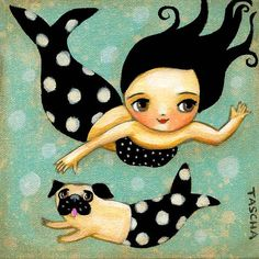 Under the sea a Mermaid and her Merpug swim and play in the waves.  This is a print of an original painting I did in acrylic on canvas.  This print was