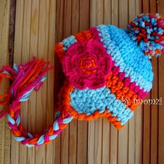 Ear Flap Crochet Baby Hat with Flower Blue and by mybabyhats, $22.00
