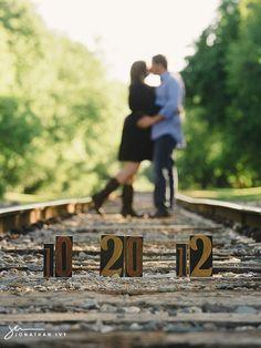 railroad track couple pictures   engagement photos on train tracks   Houston Wedding