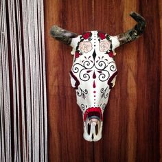 Our second ode to the cow gods. Day the of Dead inspired yarn painted cow skull #Sayulita