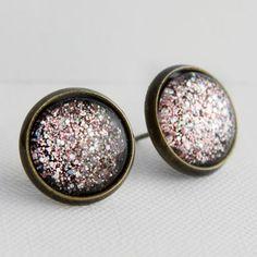 Magic Mirror Post Earrings in Antique Bronze - Pink & Silver Multicolor Glittery Stud Earrings