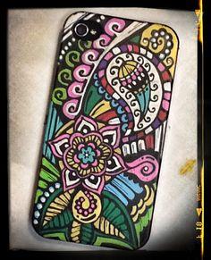 Posca ART phone case.Drawing with posca pens