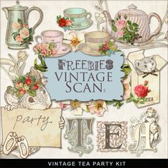 Far Far Hill: Freebies Vintage Tea Party Kit