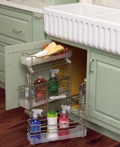 Under sink caddy where organization is of utmost importance.  This is another way to maximize space under the cabinets.  Will work well in the kitchen too.