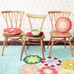 crochet / round crochet cushions + crochet rug