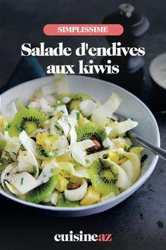 En entrée, une salade salée sucrée, ça vous tente ? Essayez notre recette de salade d'endives aux kiwis, vous nous en direz des nouvelles ! #recette #cuisine #salade #sucresale #endive #kiwi Pasta Salad, Cantaloupe, Cabbage, Food And Drink, Vegetables, Fruit, Cooking, Healthy, Ethnic Recipes