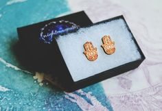 Wooden Hamsa Stud Earrings. by Nightmagnets on Etsy