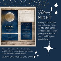 Moon and Stars Wedding Invitations, Starry Night Wedding Invitations, Navy Blue Gold Wedding | Contact me for matching items. Copyright © Soumya's Invitations | Soumya S. Mohanty | All Rights Reserved. Imitation, modification, or derivative works (matching items) of this design in any form, for any use, without explicit authorisation from me, is strictly prohibited. Visit www.soumyasdesigns.com for more celestial items!