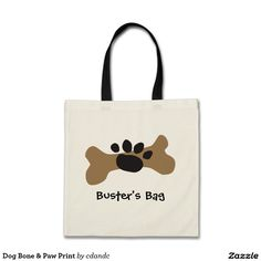 Dog Bone & Paw Print Tote Bags  -  for dog toys, travel and other fun pup adventures.  Customize with your pets name - more fun dog gifts at http://www.zazzle.com/cdandc