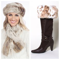Top of the Boot fawn faux fur boot toppers look great with this faux fur scarf and hat. www.mytopoftheboot.com