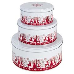 cake tins Winter Christmas, Christmas Ideas, Ads Creative, Canister Sets, Vintage Tins, Cake Tins, Food Storage, Decorated Boxes, Container