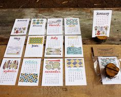 Letterpress calendar    From Etsy: this calendar from 1canoe2. Twelve hand-drawn illustrations are letterpressed, and you are provided with a wooden stand to sit them in. You can even use your stump to showcase photos and the like once the year's out. Pages are approximately 3.5in x 5.5in tall.