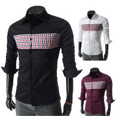 Checked Front Long Sleeve Slim Fit Dress Shirt  . Shop Now At http://sneakoutfitters.com/collections/new-in/products/checked-front-long-sleeve-slim-fit-dress-shirt