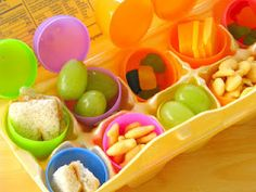 Easter Egg Lunch- Place a few eggs on their plate or in their lunch bag!!  Fill with grapes, goldfish crackers, sandwich bites, cheese squares, berries, raisins...