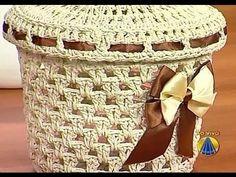Set da bagno all'uncinetto: la scatola portaoggetti con coperchio - tutorial crochet - YouTube