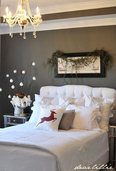 Christmas Bedroom - like 2 ideas from this pic: the sticks with x-mas decorations and the single x-mas pillow