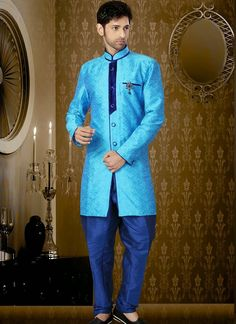Modern sky blue art silk party wear sherwani is designed with resham work as photography purpose. (Slight colour variation is possible.)...