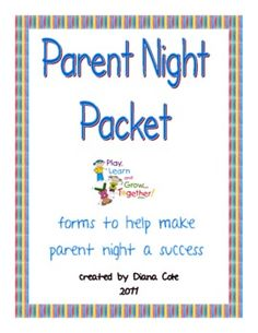 Parent Night Or Orientation Packet for Publisher Free - Diana Cole - TeachersPayTeachers.com