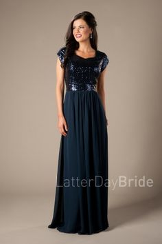 Modest Prom Dresses | 2017 Styles | LatterdayBride & Prom | SLC | Utah | Worldwide Shipping | Natalie | This lovely bridesmaid dress features a flashy sequin top complimented by a flowy sheath chiffon skirt.     *Shown in Navy