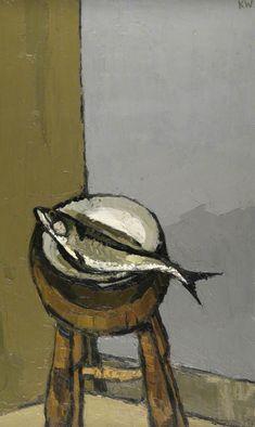 "Sir John ""Kyffin"" Williams, 1918 – 2006 г., ""Mackerel"" , , Oil on canvas Painting Still Life, Still Life Art, Kyffin Williams, Fish Artwork, Art Uk, Art Graphique, Artist Art, Painting Inspiration, Modern Art"