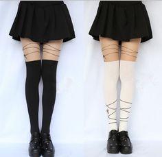 "japanese harajuku tight ribbon pantyhose socks   use coupon code ""cherry blossom"" for 10% off everytime you shop at (www.sanrense.com)."