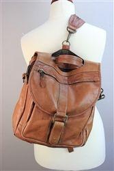 #vintage leather satchel backpack