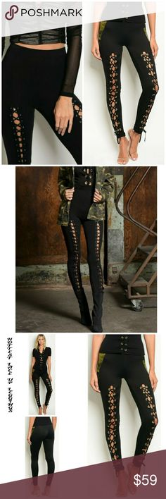 🌟NEW! FALL 2017 HOTTEST LACE UP LEGGINGS I absolutely LOVE, LOVE, LOVE these! So trendy, chic & super comfy! Style with a glam blouse or t-shirt.. sandals, short boots or over the knee .. these legging are so versatile.. fabulous statement piece!   Fitted leggings with a lace up leg detail  Fabric Content: 95% POLYESTER 5% SPANDEX Sizes: S-M-L   * Camo & bomber jackets are available in separate listings.. bundle & save!   ▪ Price Is Firm  ▪ No Trades Moda Ragazza Pants Leggings
