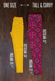 Difference in length and inseam for One Size vs. Tall and Curvy leggings.#lularoeleggings #leggings #friday #style #women #lularoelove