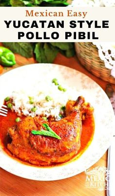 Marinated in colorful achiote and citrus marinade and served with pickled onions, this chicken dish is one of the most popular dishes all over the Yucatán. Quick and easy recipe to prepared and so delicious. #pibil #pollopibil #chickenpibil Achiote, Mexican Chicken Recipes, Pickled Onions, Vegetarian Options, Just Cooking, Kitchen Recipes, Quick Easy Meals, Dishes, Kitchens
