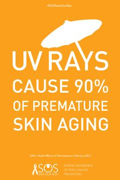 SKIN FACT: UV rays cause 90% of premature skin aging. REPIN THIS IMAGE TO HELP RAISE AWARENESS FOR SKIN CANCER PREVENTION. For every repin, we'll donate 1 DOLLAR to The Skin Cancer Foundation. #SOSSaveOurSkin