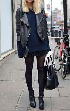 black skirt, black tights, black booties