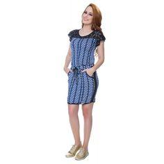 Vestido De Malha Estampado Azul - Hapuk