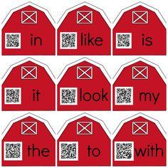 Sight Word Barn QR Codes