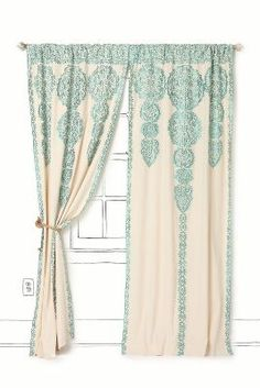 I'm looking like this curtain. Di mana ya??  Long beige / white cartoons with blue / mint ornaments . Gorgeous!
