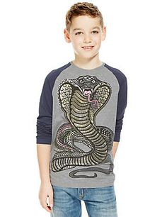 Grey Mix Cotton Rich Raglan Sleeve Snake Print T-Shirt (5-14 Years)