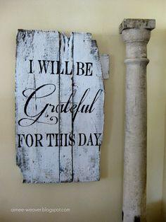 Grateful sign using an old barn door