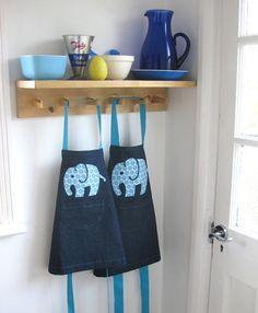 Girls apron. Blue Floral 'Efalant' applique by ADogLikeSparky