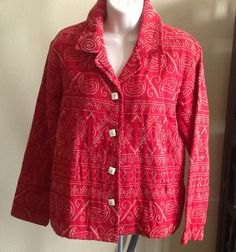 COLDWATER CREEK Jacket Long Sleeves RED Cotton Blend Geometric Print Size PS