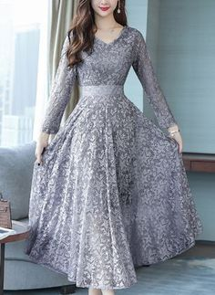 Plus Size Fashion Autumn Winter Women Dress Boho V Neck Hollow Lace Dresses Long Sleeve Dress Vestidos mujer Robes Long Gown Dress, Long Sleeve Tunic Dress, Boho Dress, Chiffon Maxi Dress, Maxi Dress With Sleeves, Lace Skirt, Indian Gowns Dresses, Indian Fashion Dresses, Women's Dresses