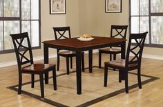 Baum Two-Tone Cherry and Black Solid Wood 5 Piece Dining Set