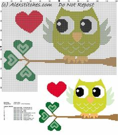 owl on branch with green leaves little hearts cross stitch pattern