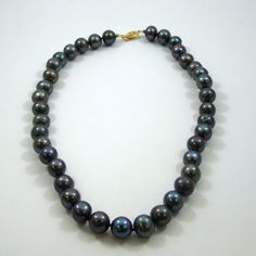 18 Inch Black Pearl Necklace with 14K Yellow Gold Clasp. (Two Available)  - $450